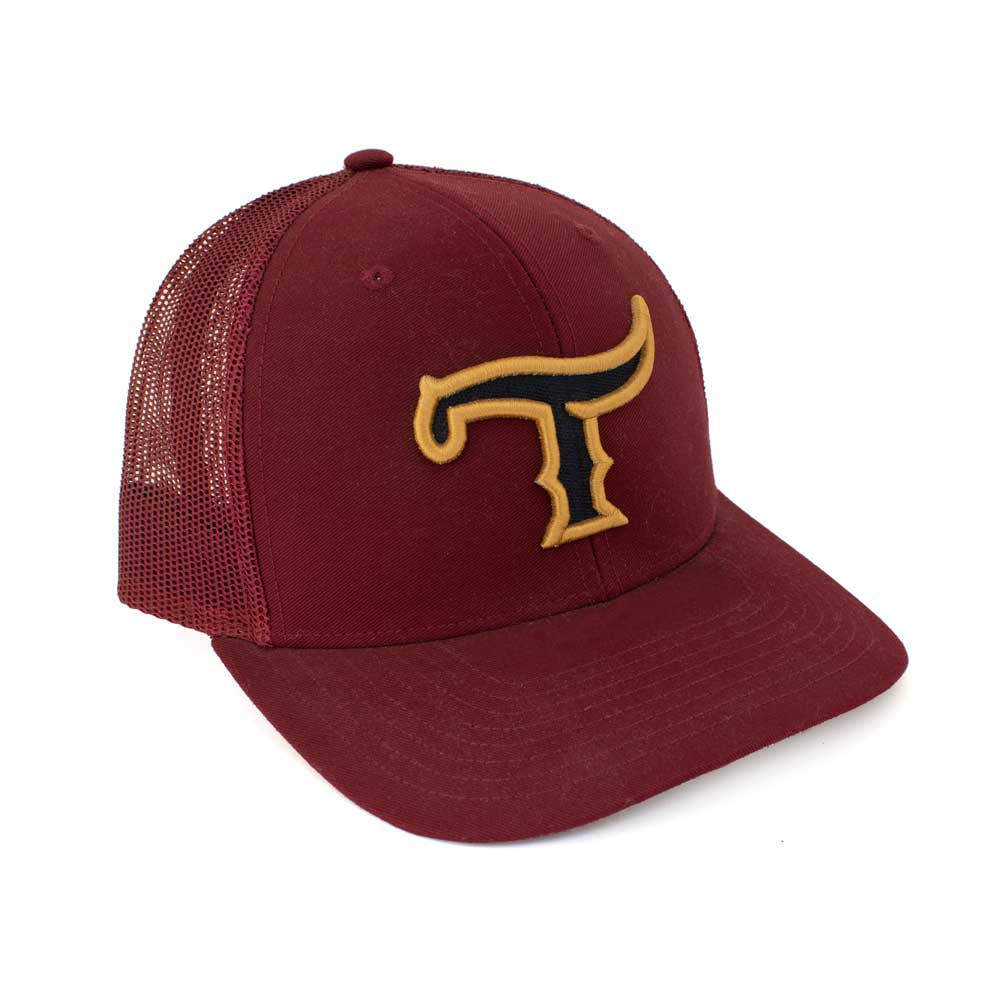 Teskey's T Logo Cap - Burgundy, Black/Gold Logo TESKEY'S GEAR - Baseball Caps RICHARDSON Teskeys