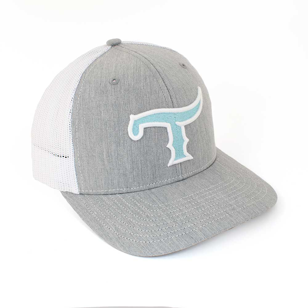 Teskey's T Logo Cap - Heather Grey/White, Turquoise/White Logo TESKEY'S GEAR - Baseball Caps RICHARDSON Teskeys