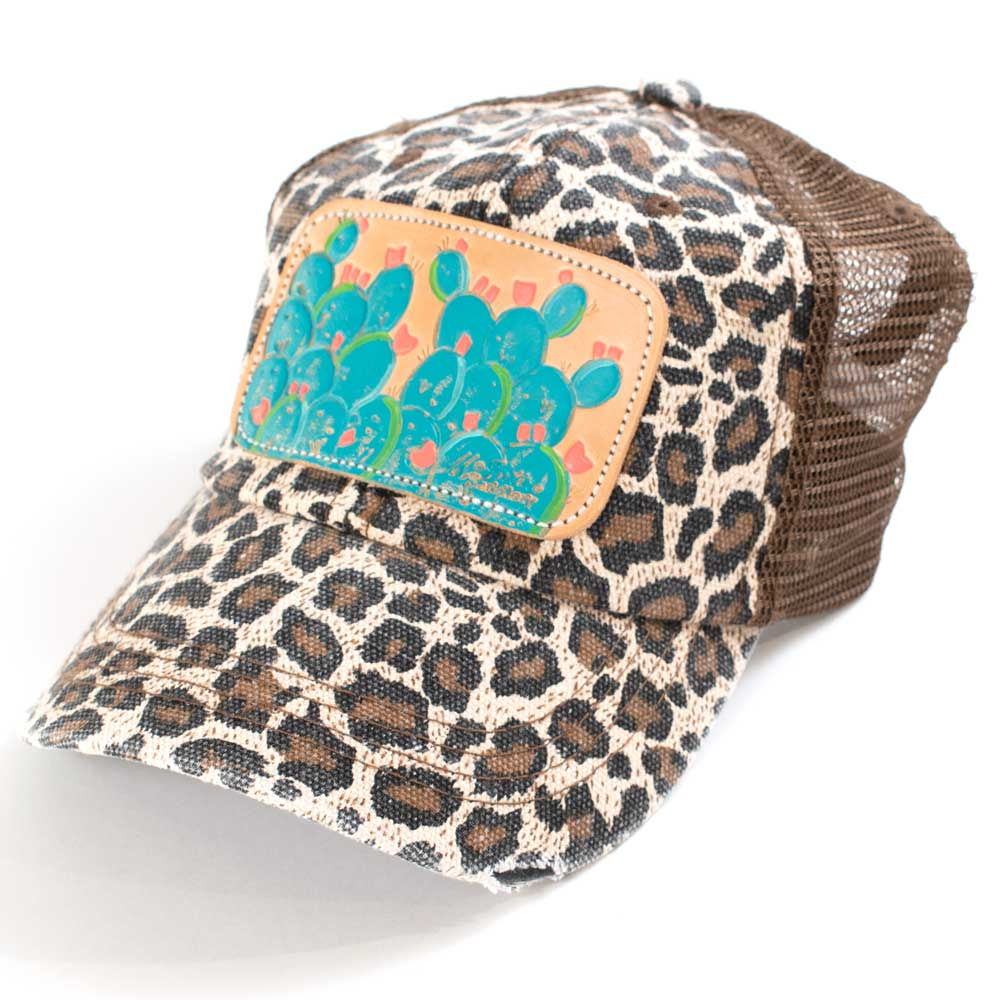 McIntire Saddlery Leopard Blue Cactus Low Crown Ponytail Cap WOMEN - Accessories - Caps, Hats & Fedoras MCINTIRE SADDLERY Teskeys