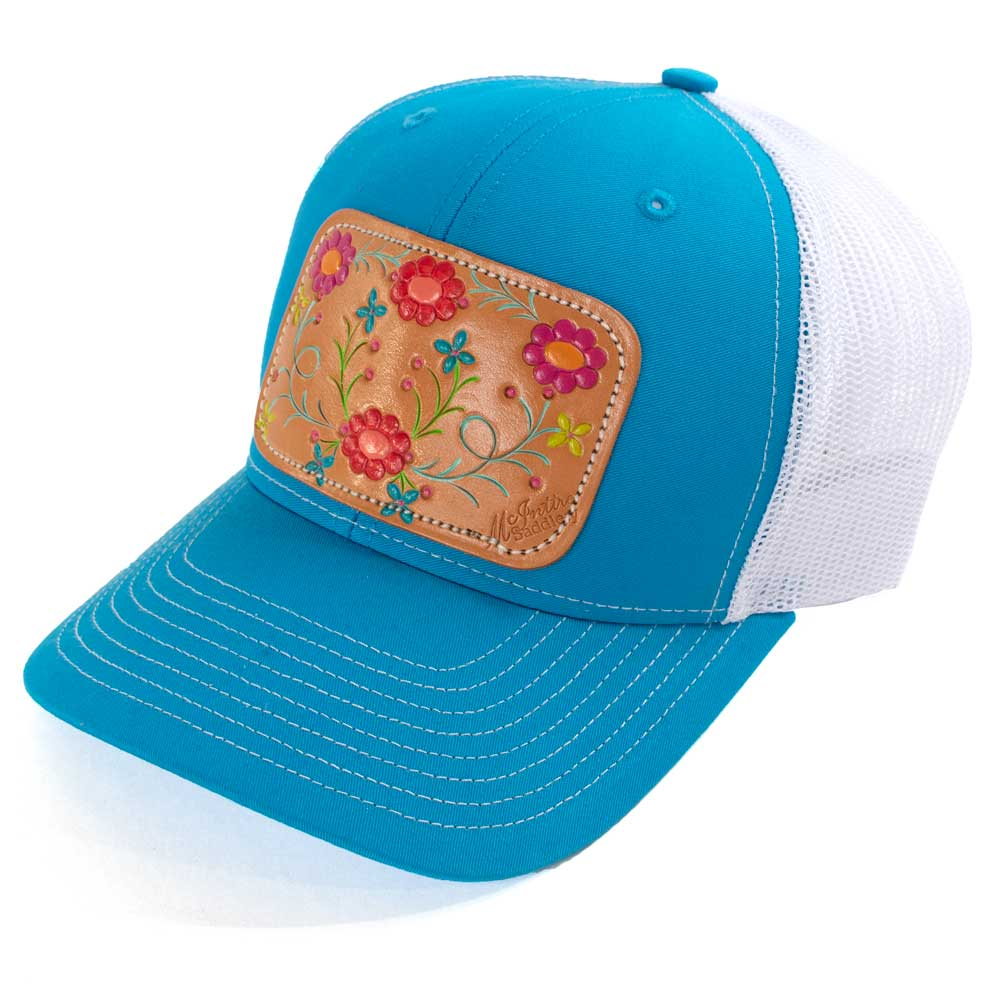 McIntire Saddlery Cantina Cap Cyan/White WOMEN - Accessories - Caps, Hats & Fedoras MCINTIRE SADDLERY Teskeys
