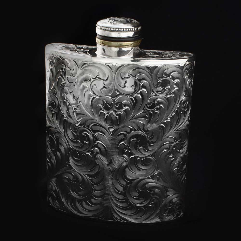 Comstock Heritage Sterling Silver Engraved Flask HOME & GIFTS - Tabletop + Kitchen - Bar Accessories COMSTOCK HERITAGE Teskeys