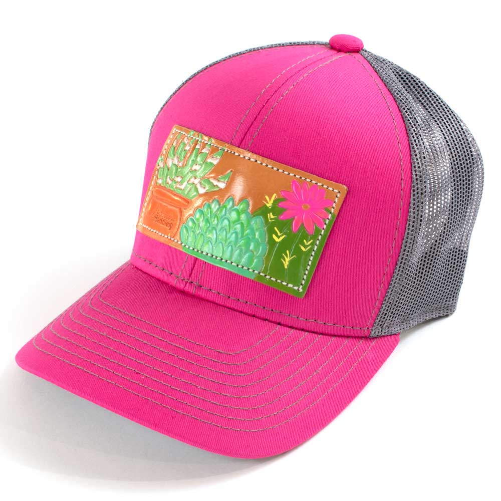 McIntire Saddlery Succulent Patch Cap Pink/Charcoal WOMEN - Accessories - Caps, Hats & Fedoras MCINTIRE SADDLERY Teskeys