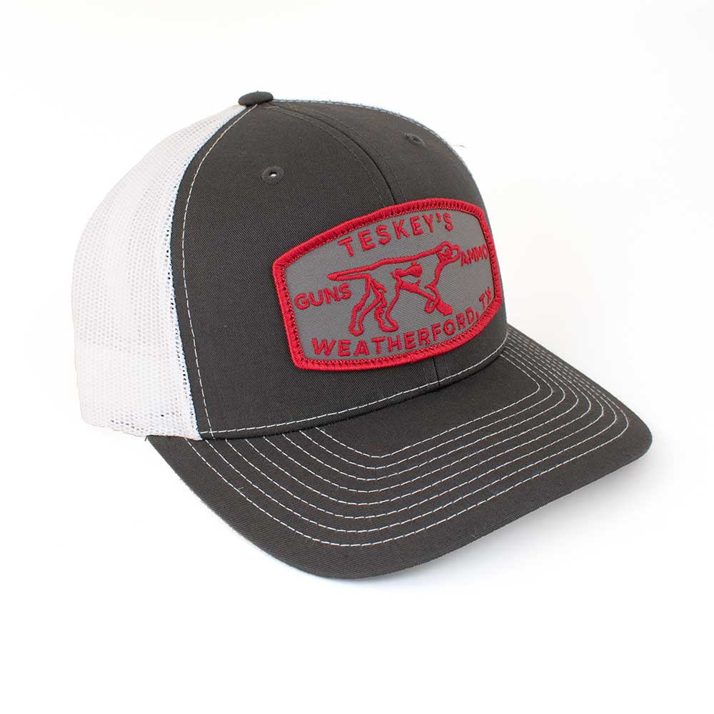 Teskey's G&A Pointer Patch Cap - Charcoal/White, Red Logo TESKEY'S GEAR - Baseball Caps RICHARDSON Teskeys