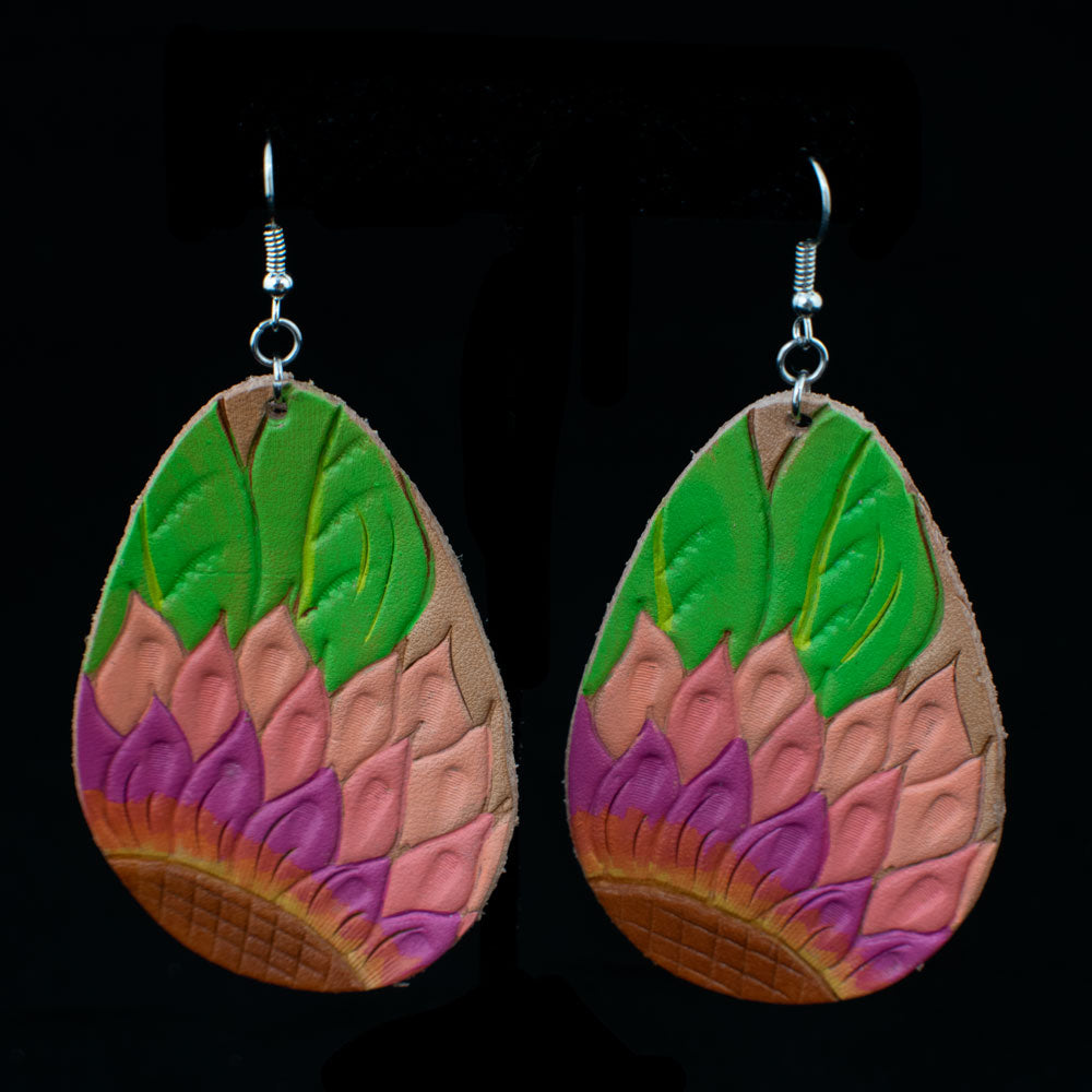 Pink Sunflower Leather Earring WOMEN - Accessories - Jewelry - Earrings MCINTIRE SADDLERY Teskeys
