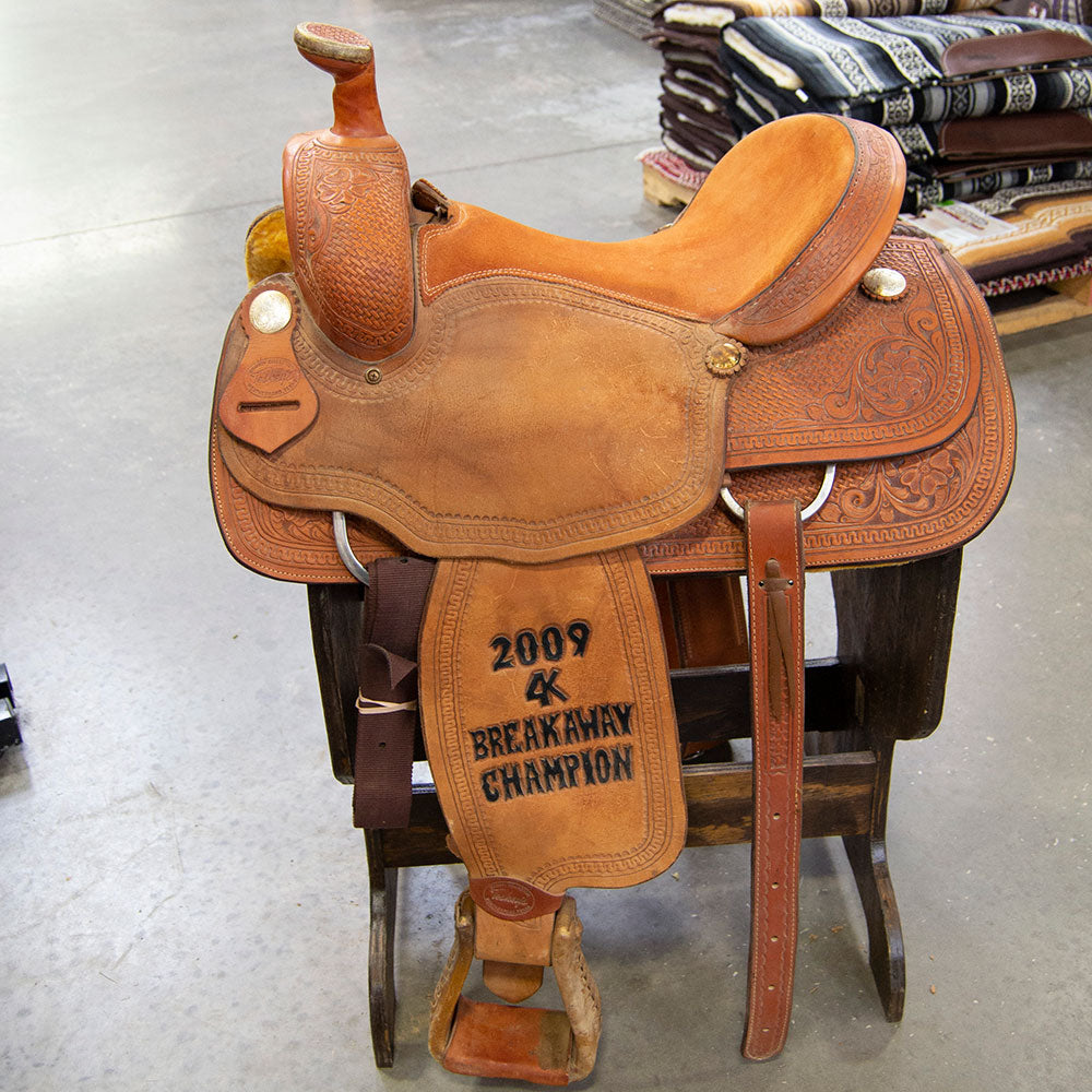 "15.5"" USED TESKEY'S ROPING SADDLE Saddles - Used Saddles - ROPER Teskey's Teskeys"