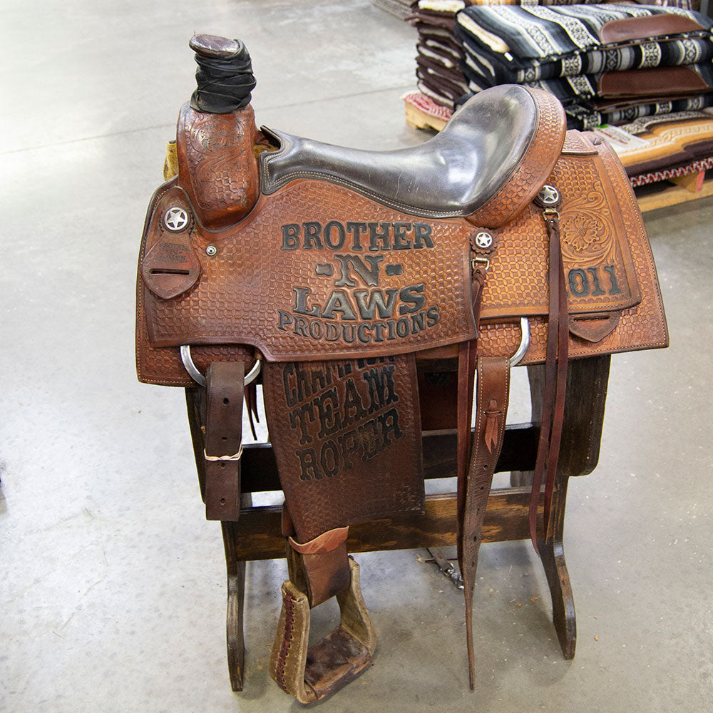 "15"" USED BROTHERS IN LAW ROPING SADDLE"