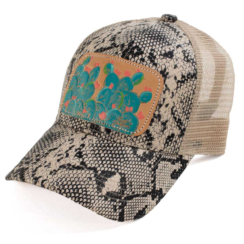 McIntire Saddlery Snake Print Blue Cactus Ponytail Cap WOMEN - Accessories - Caps, Hats & Fedoras MCINTIRE SADDLERY Teskeys