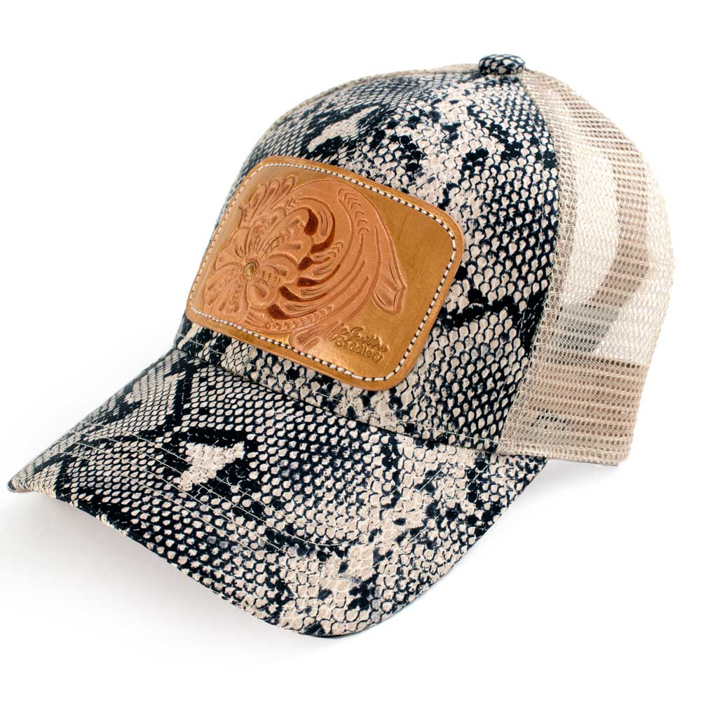 McIntire Saddlery Snake Print Ponytail Cap Tooled/Gold WOMEN - Accessories - Caps, Hats & Fedoras MCINTIRE SADDLERY Teskeys