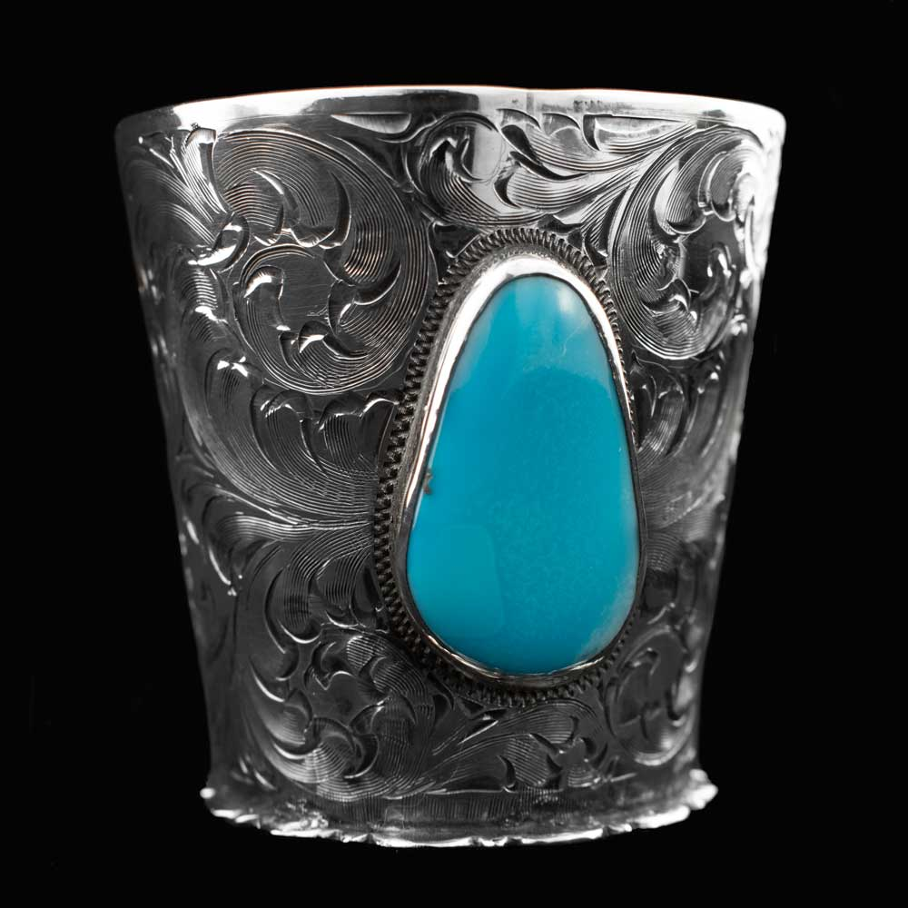 Comstock Heritage Sterling Silver and Turquoise Shot Glass HOME & GIFTS - Tabletop + Kitchen - Bar Accessories COMSTOCK HERITAGE Teskeys