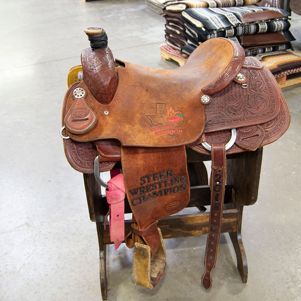 "15.5"" USED TESKEY'S CALF ROPING SADDLE Saddles - Used Saddles - ROPER Teskey's Teskeys"