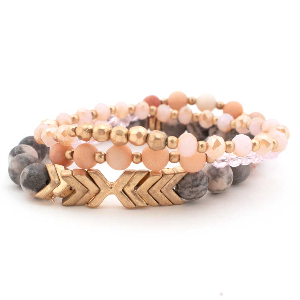 Peach Chevron Bracelet Set WOMEN - Accessories - Jewelry - Bracelets ARTBOX JEWEL Teskeys