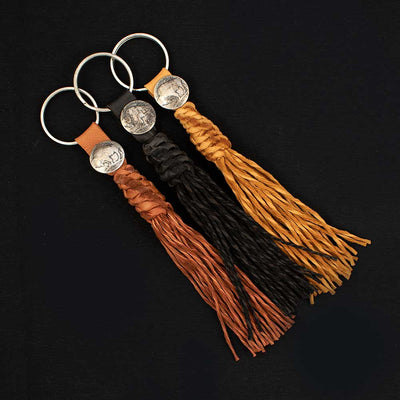 Buffalo Nickel Leather Keychain WOMEN - Accessories - Small Accessories PEYOTE BIRD DESIGNS Teskeys