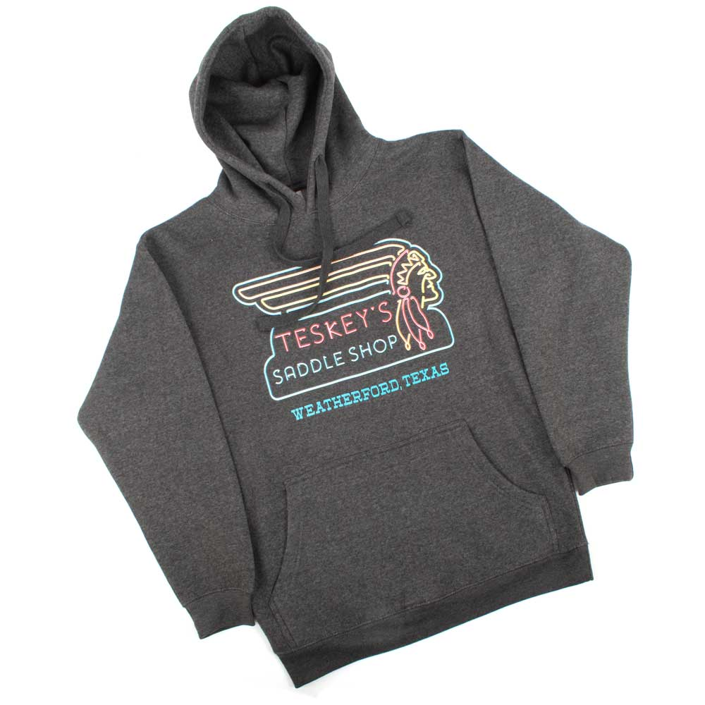 Teskey's Neon Sign Hoodie - Graphite TESKEY'S GEAR - Hoodies OURAY SPORTSWEAR Teskeys