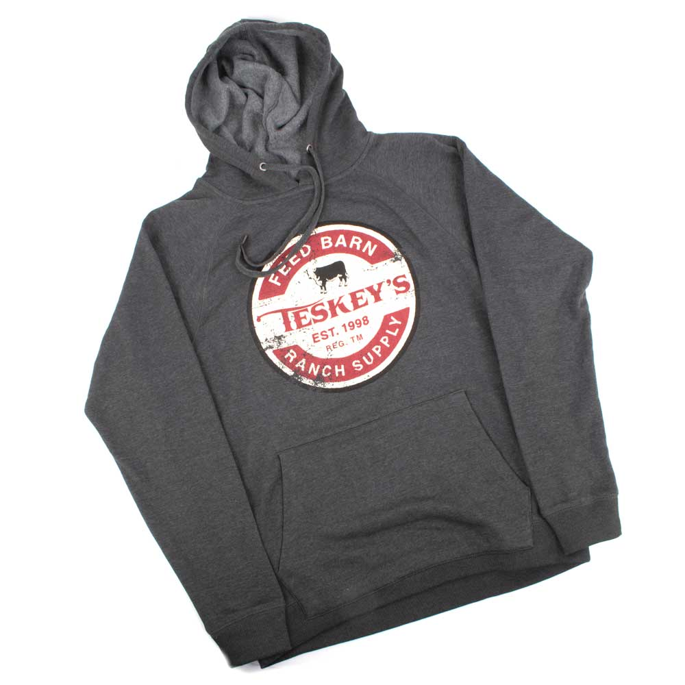 Teskey's Feed Ranch Supply Hoodie - Charcoal Heather TESKEY'S GEAR - Hoodies OURAY SPORTSWEAR Teskeys