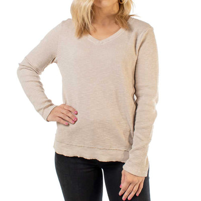 Dylan Slub Waffle Asymmetrical Top WOMEN - Clothing - Tops - Long Sleeved DYLAN Teskeys