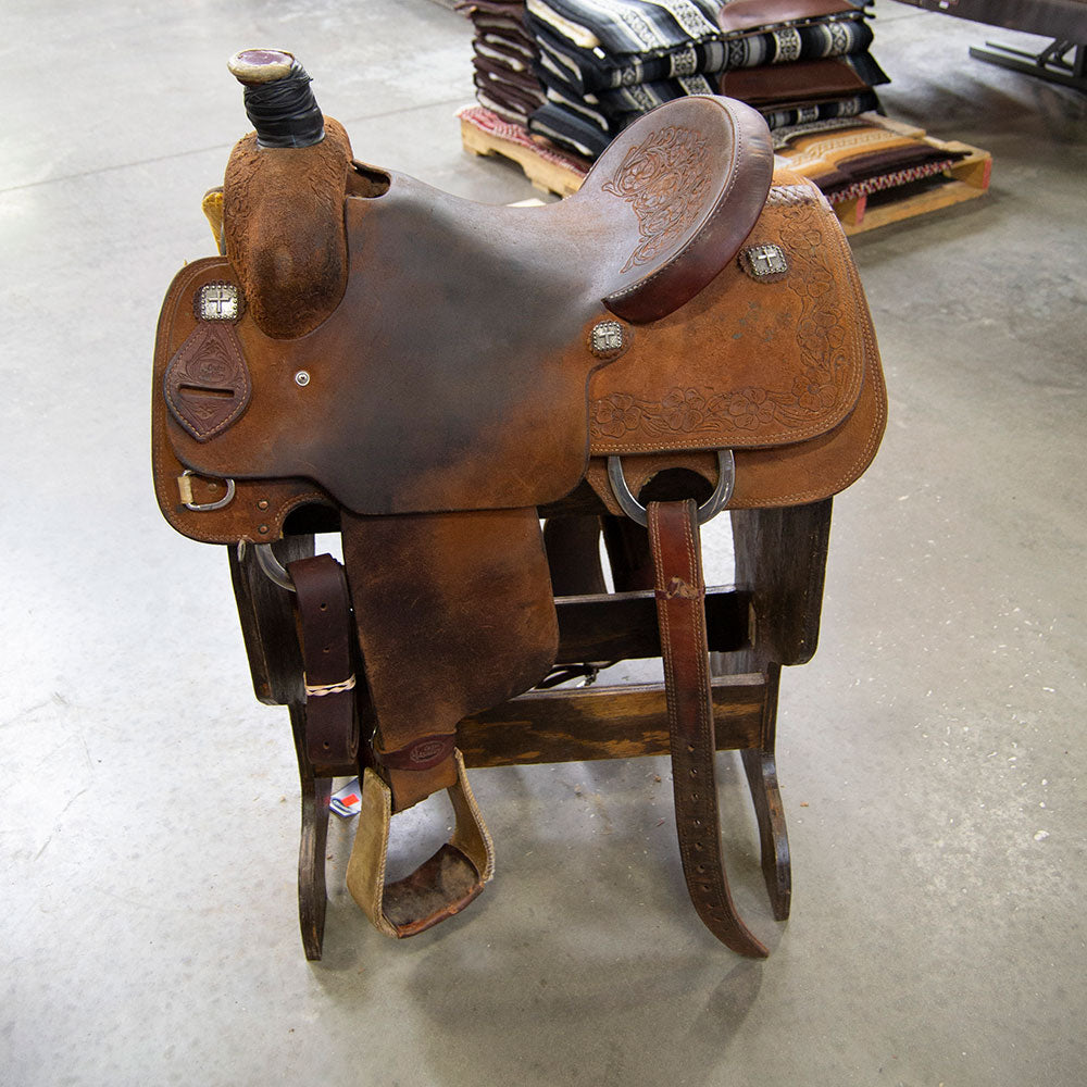 "15"" USED CACTUS ROPING SADDLE"