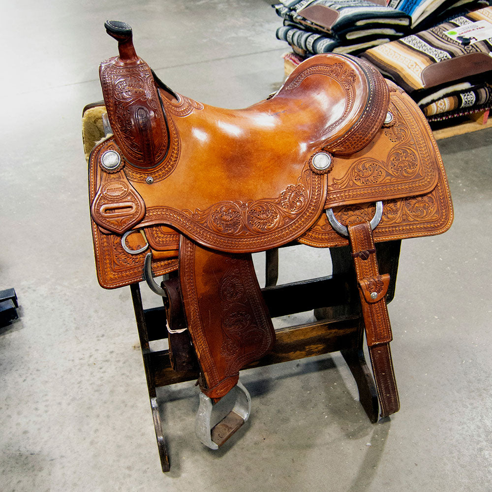 "16.5"" USED TESKEY'S RANCH CUTTING SADDLE Saddles - Used Saddles - RANCH CUTTER Teskey's Teskeys"