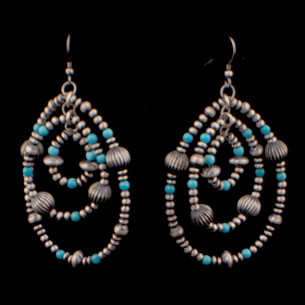 3 Hoop with Turquoise Earring WOMEN - Accessories - Jewelry - Earrings SUNWEST SILVER Teskeys
