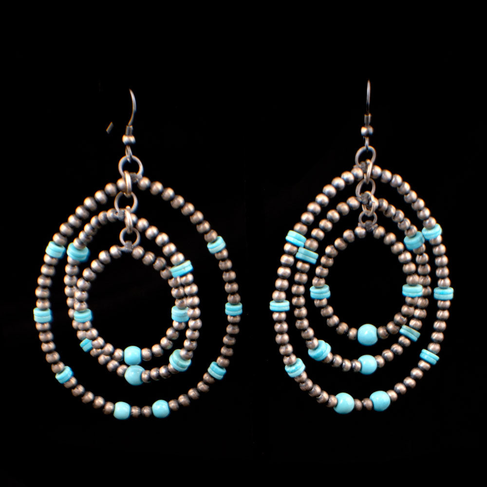 Turquoise/Navajo Pearl 3 Hoop Earrings WOMEN - Accessories - Jewelry - Earrings SUNWEST SILVER Teskeys