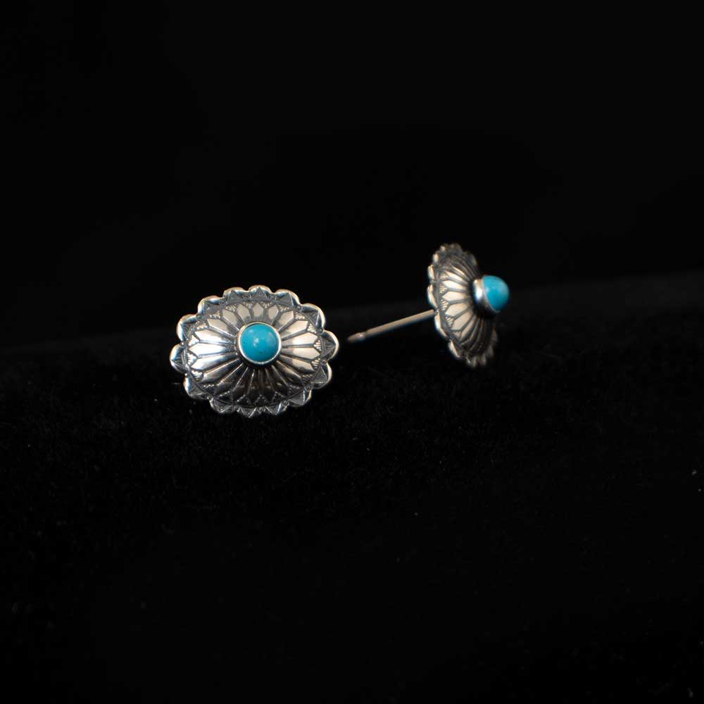 Sterling Silver & Turquoise Small Stamped Oval Earrings WOMEN - Accessories - Jewelry - Earrings SUNWEST SILVER Teskeys