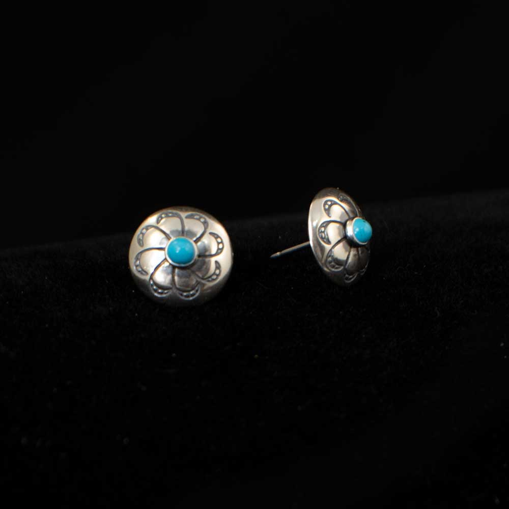 Stamped Earrings with Tiny Turquoise Stone WOMEN - Accessories - Jewelry - Earrings SUNWEST SILVER Teskeys