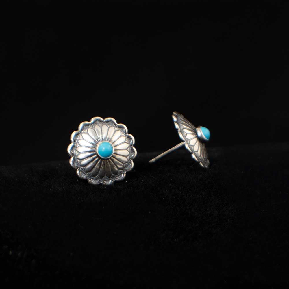 Sterling Silver & Turquoise Stamped Circle Earrings WOMEN - Accessories - Jewelry - Earrings SUNWEST SILVER Teskeys