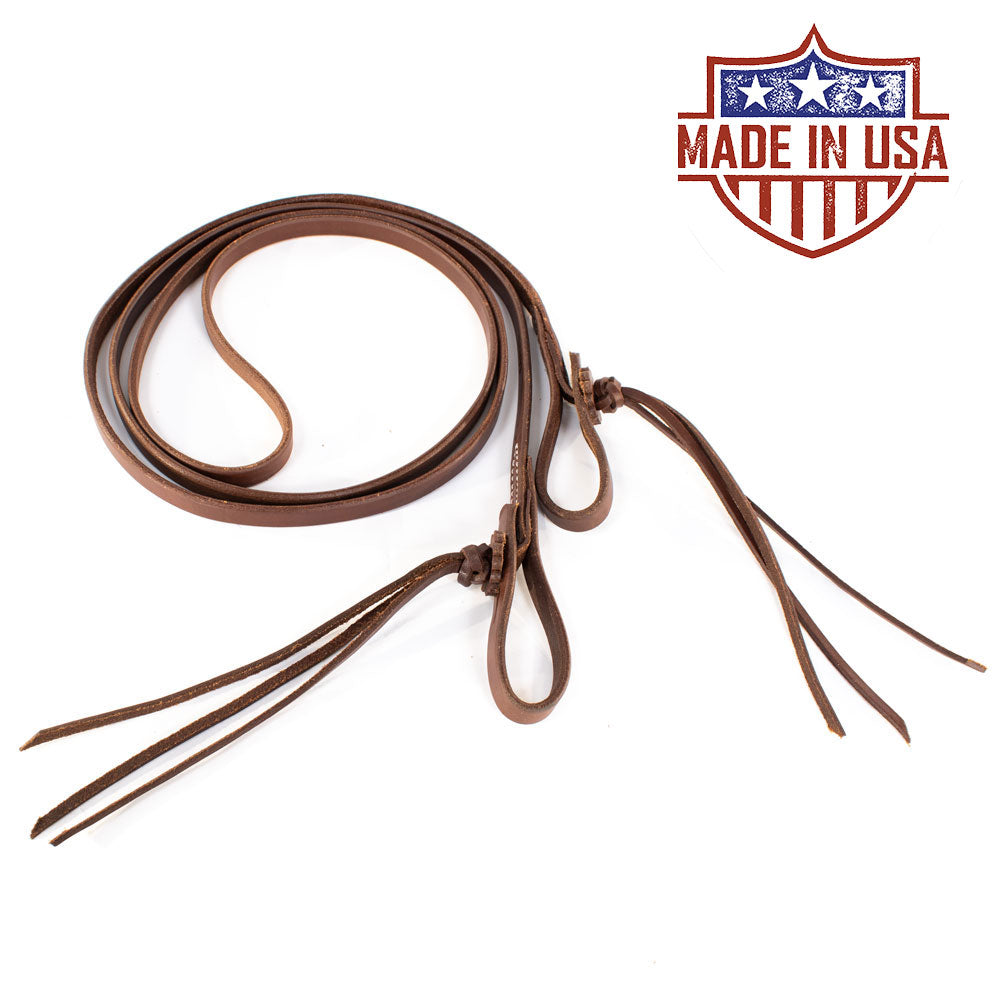 Patrick Smith Roping Rein With Pineapple Knot Tie Ends Tack - Reins Patrick Smith Teskeys