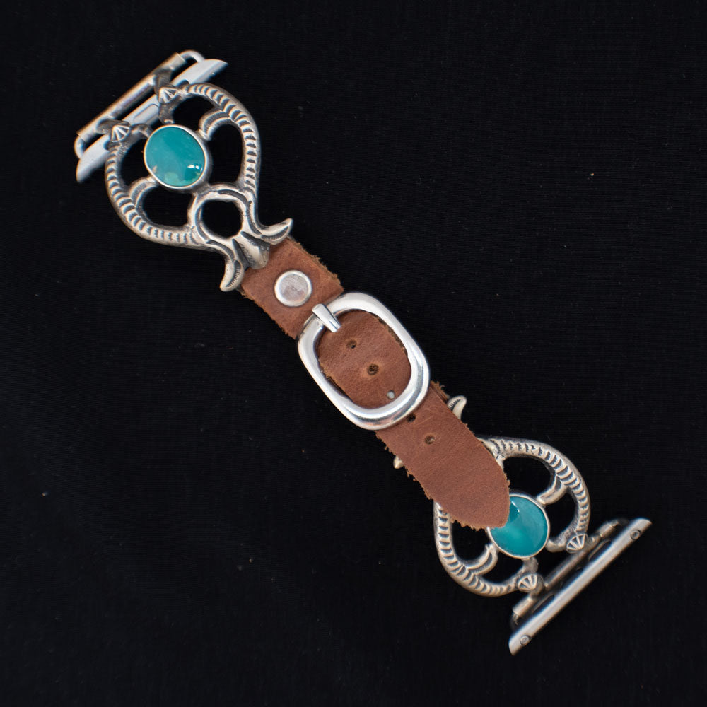 42mm Sterling Silver Naja With Turquoise Apple Watchband WOMEN - Accessories - Jewelry - Watches & Watch Bands WILD HORSE WATCHIN' BANDS Teskeys