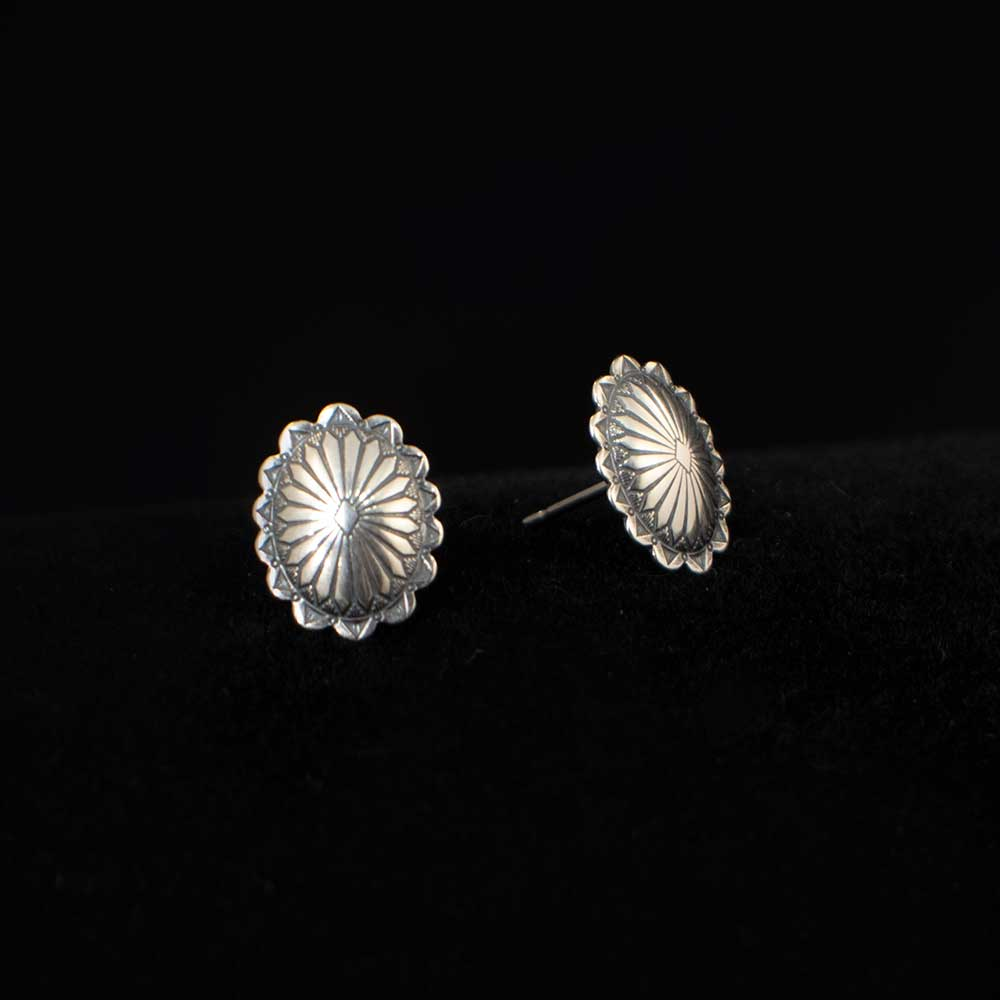 Sterling Silver Stamped Oval Earrings