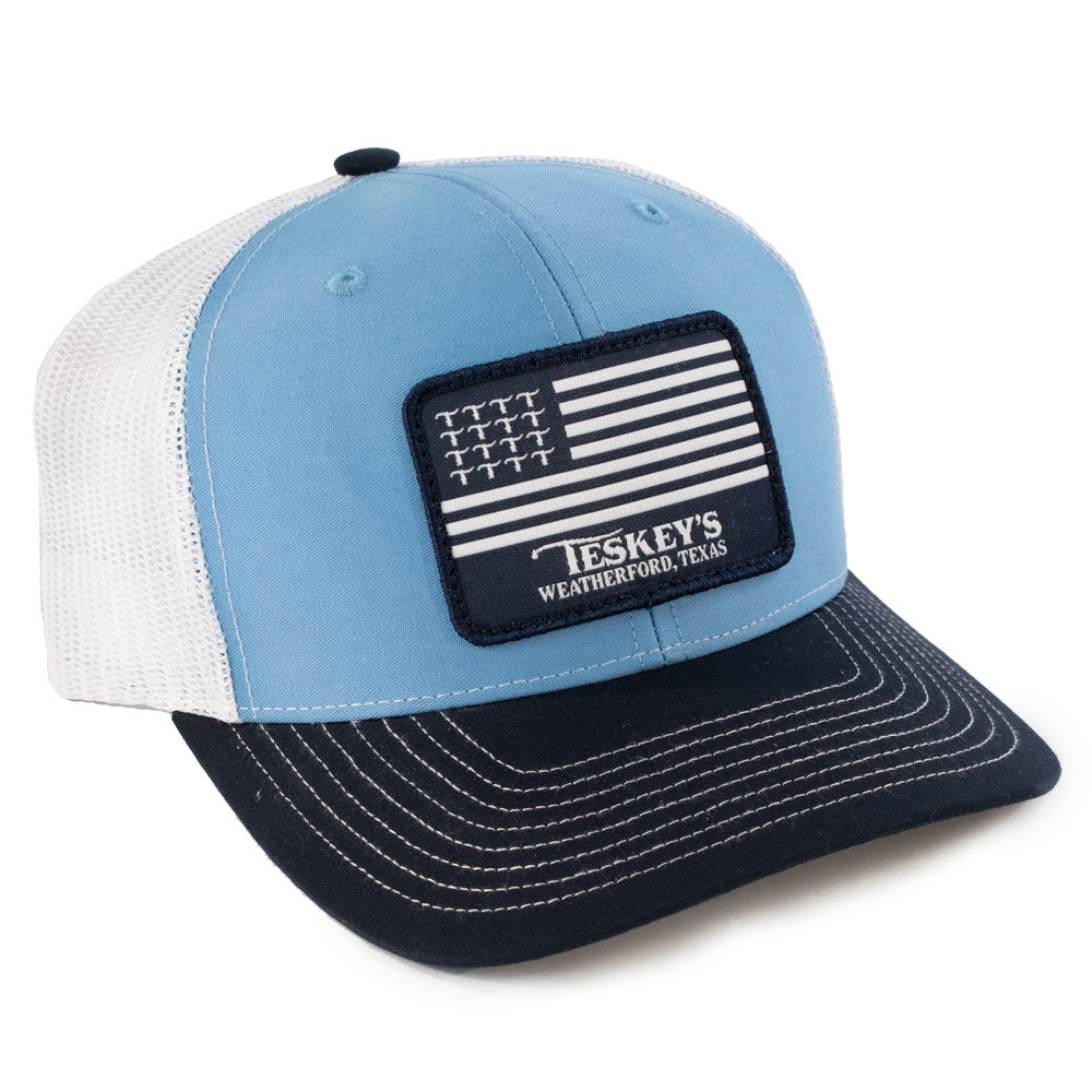 Teskey's T Flag Patch Cap - Cobalt/White/Navy TESKEY'S GEAR - Baseball Caps RICHARDSON Teskeys