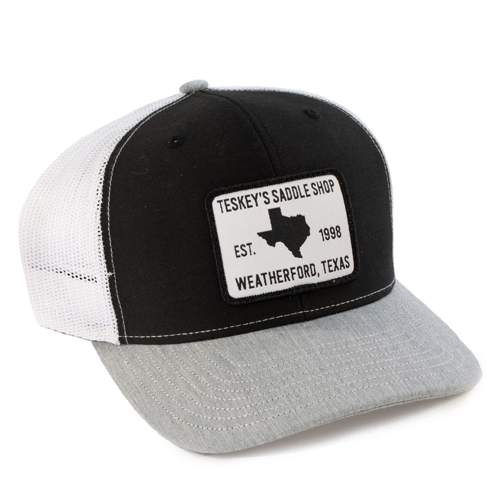 Teskey's 98 Saddle Shop Logo Cap - Black/White/Heather Grey TESKEY'S GEAR - Baseball Caps RICHARDSON Teskeys
