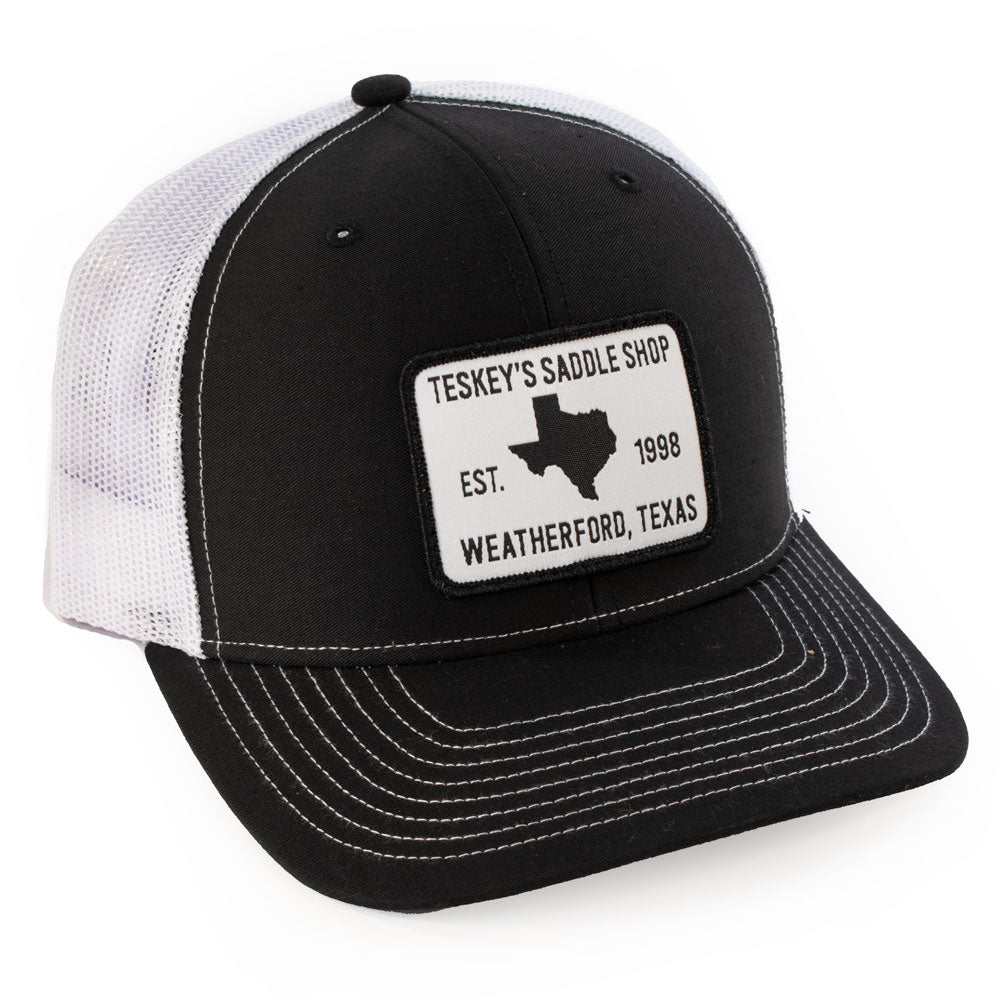 Teskey's 98 Saddle Shop Logo Cap - Black/White TESKEY'S GEAR - Baseball Caps RICHARDSON Teskeys