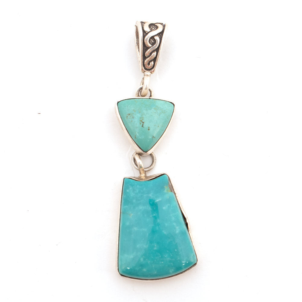 2 Stone Turquoise Drop Pendant WOMEN - Accessories - Jewelry - Pins & Pendants SUNWEST SILVER Teskeys