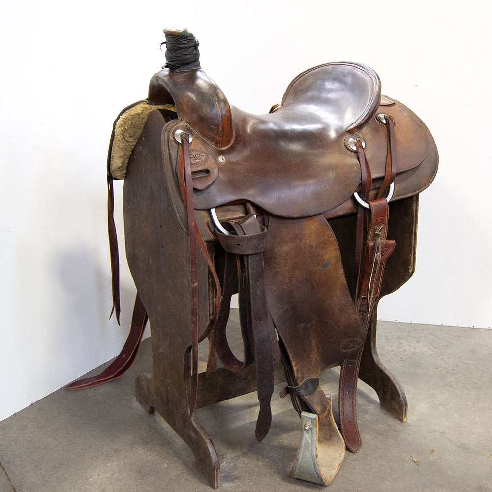 "15.5"" USED TWIN BUTES SADDLERY RANCH ROPING SADDLE Saddles - Used Saddles - RANCH Twin butes saddlery Teskeys"