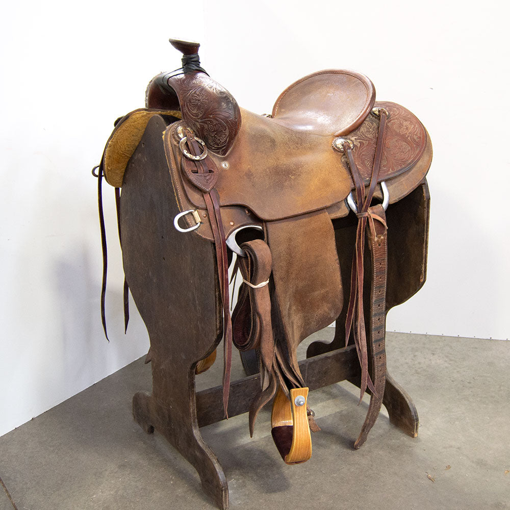 "15.5"" USED CACTUS RANCH ROPING SADDLE Saddles - Used Saddles - RANCH Cactus Teskeys"