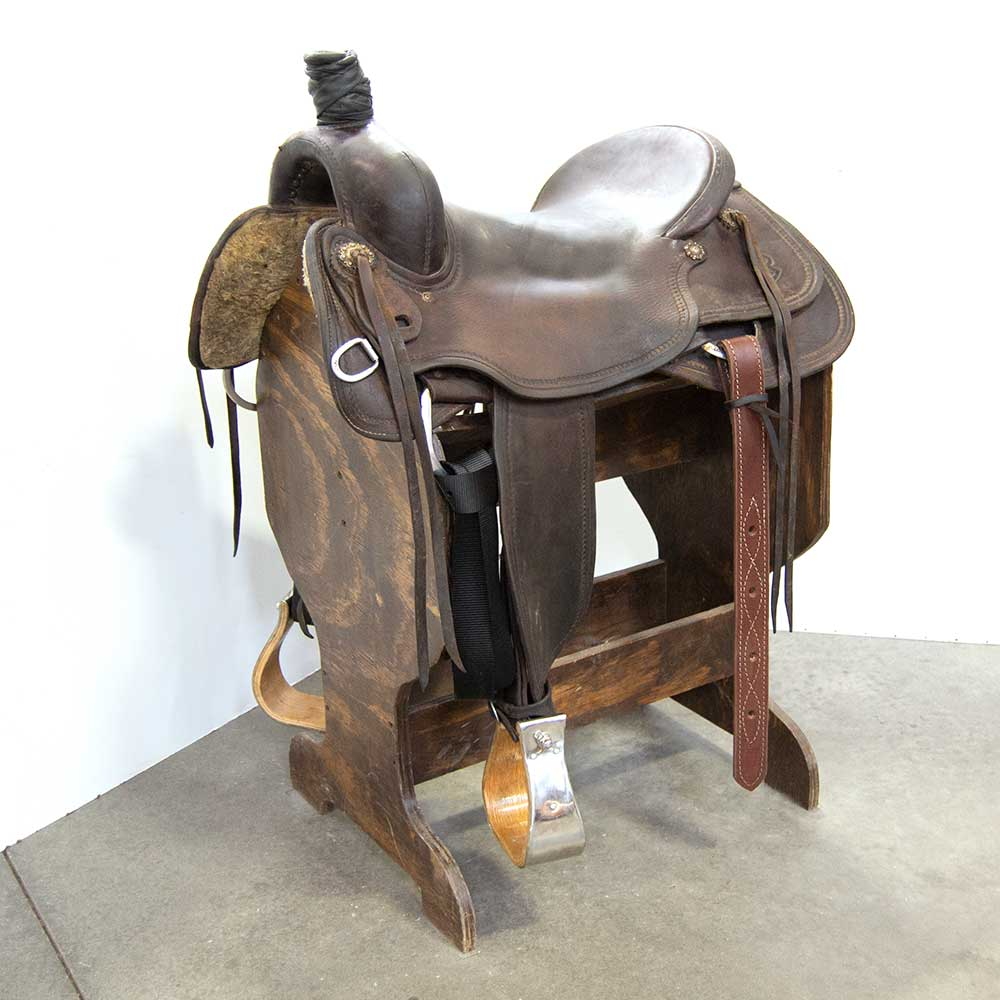 "17"" USED PAUL CUSTOM SADDLERY CUTTING SADDLE Saddles - Used Saddles - CUTTER Pauls Custom Saddlery Teskeys"