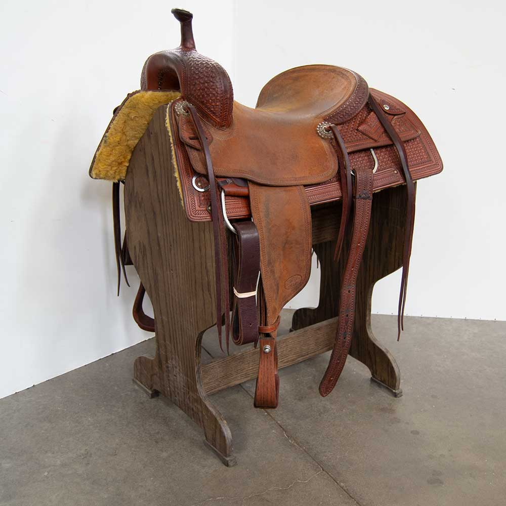 "16"" LIKE NEW CALVIN ALLEN CUTTING SADDLE Saddles - Used Saddles - CUTTER Calvin Allen Teskeys"