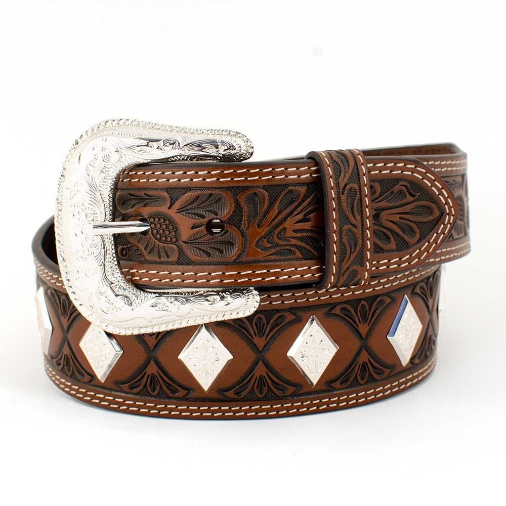 Floral Tooled Diamond Concho Belt MEN - Accessories - Belts & Suspenders COWBOY CHROME LEATHER CO Teskeys