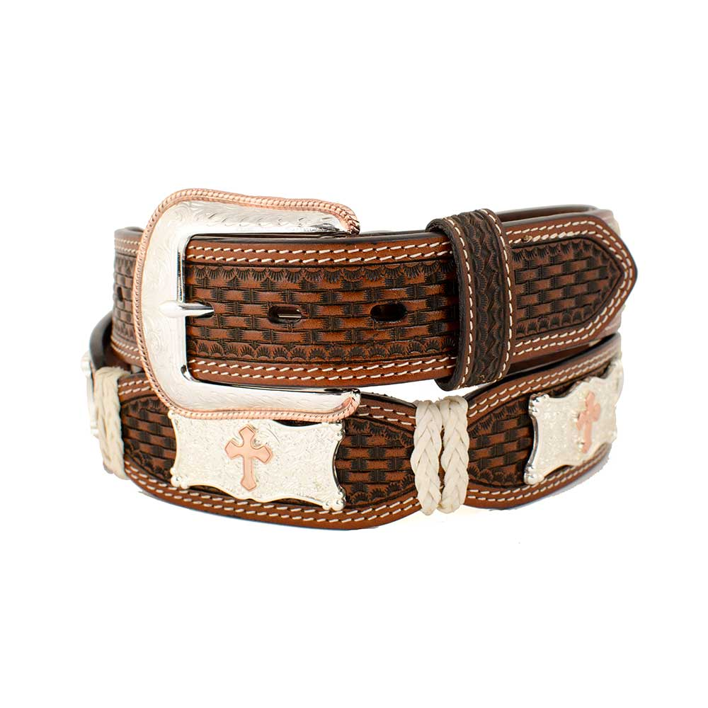 Basketweave Cross Concho Belt MEN - Accessories - Belts & Suspenders COWBOY CHROME LEATHER CO Teskeys