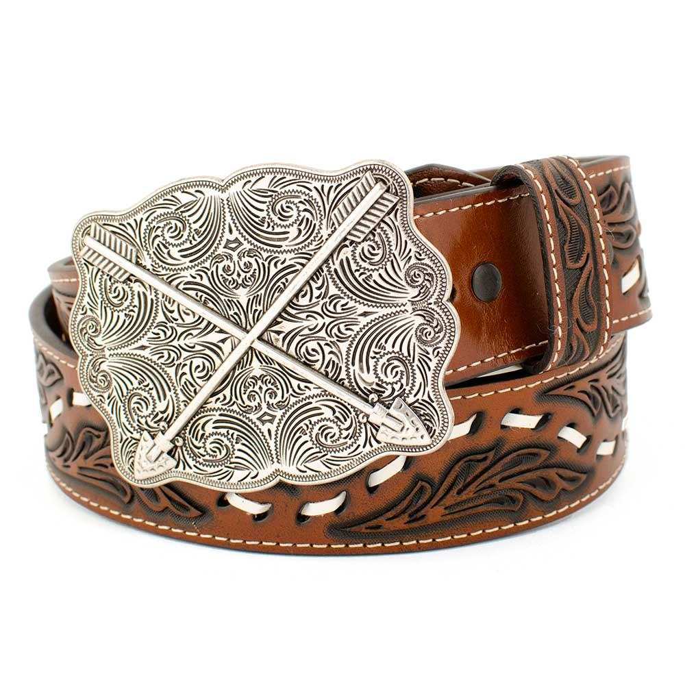 Cross Arrow Buckle on Floral Tooled Belt WOMEN - Accessories - Belts COWBOY CHROME LEATHER CO Teskeys