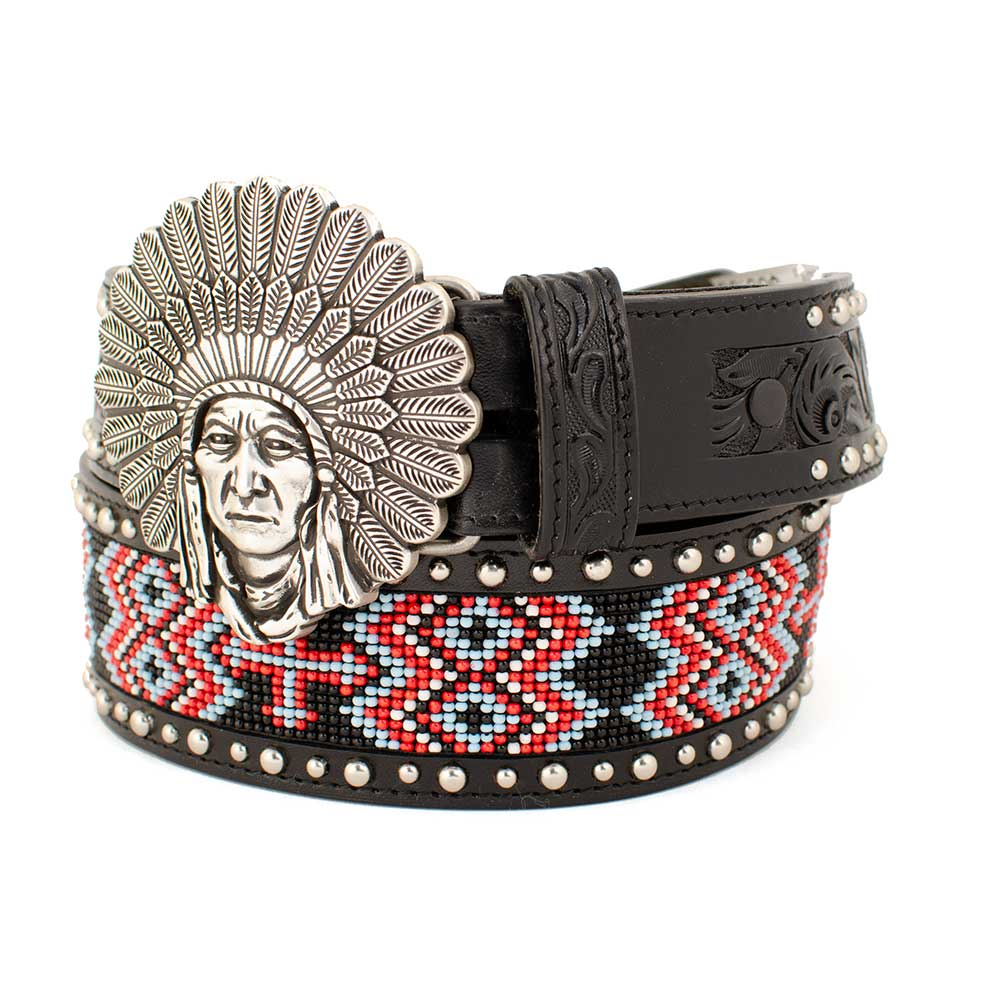 Indian Head Buckle On Beaded Belt WOMEN - Accessories - Belts COWBOY CHROME LEATHER CO Teskeys