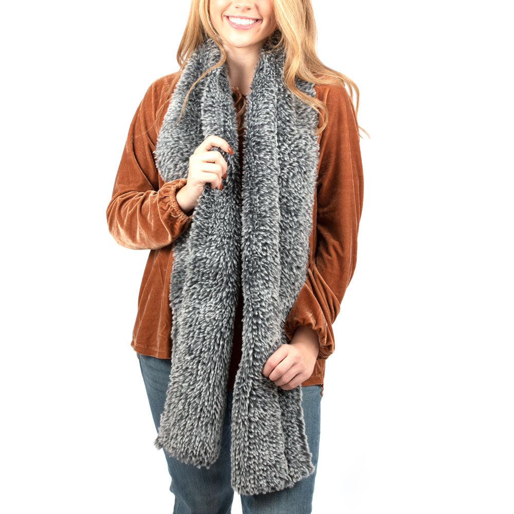 Dylan Knitted Fur Scarf-Navy ACCESSORIES - Additional Accessories - Wild Rags & Scarves DYLAN Teskeys