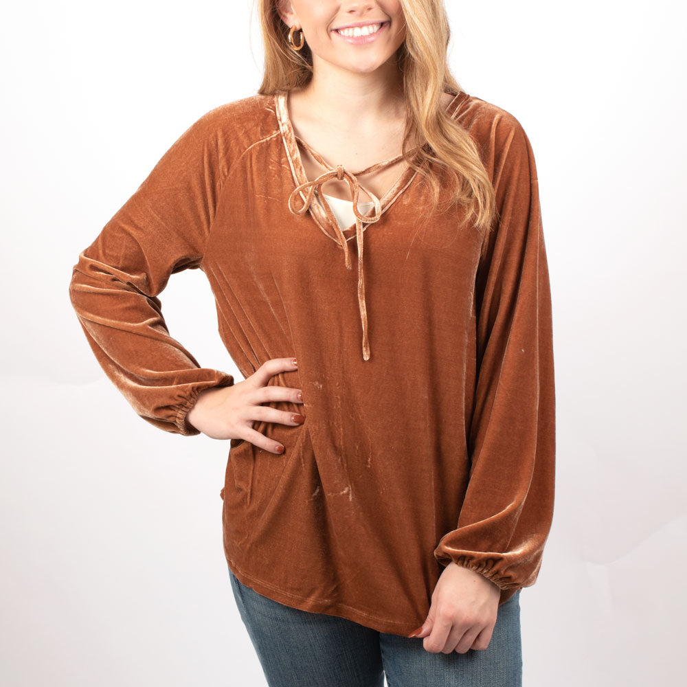 Dylan Vintage Velvet Top - Copper WOMEN - Clothing - Tops - Long Sleeved DYLAN Teskeys