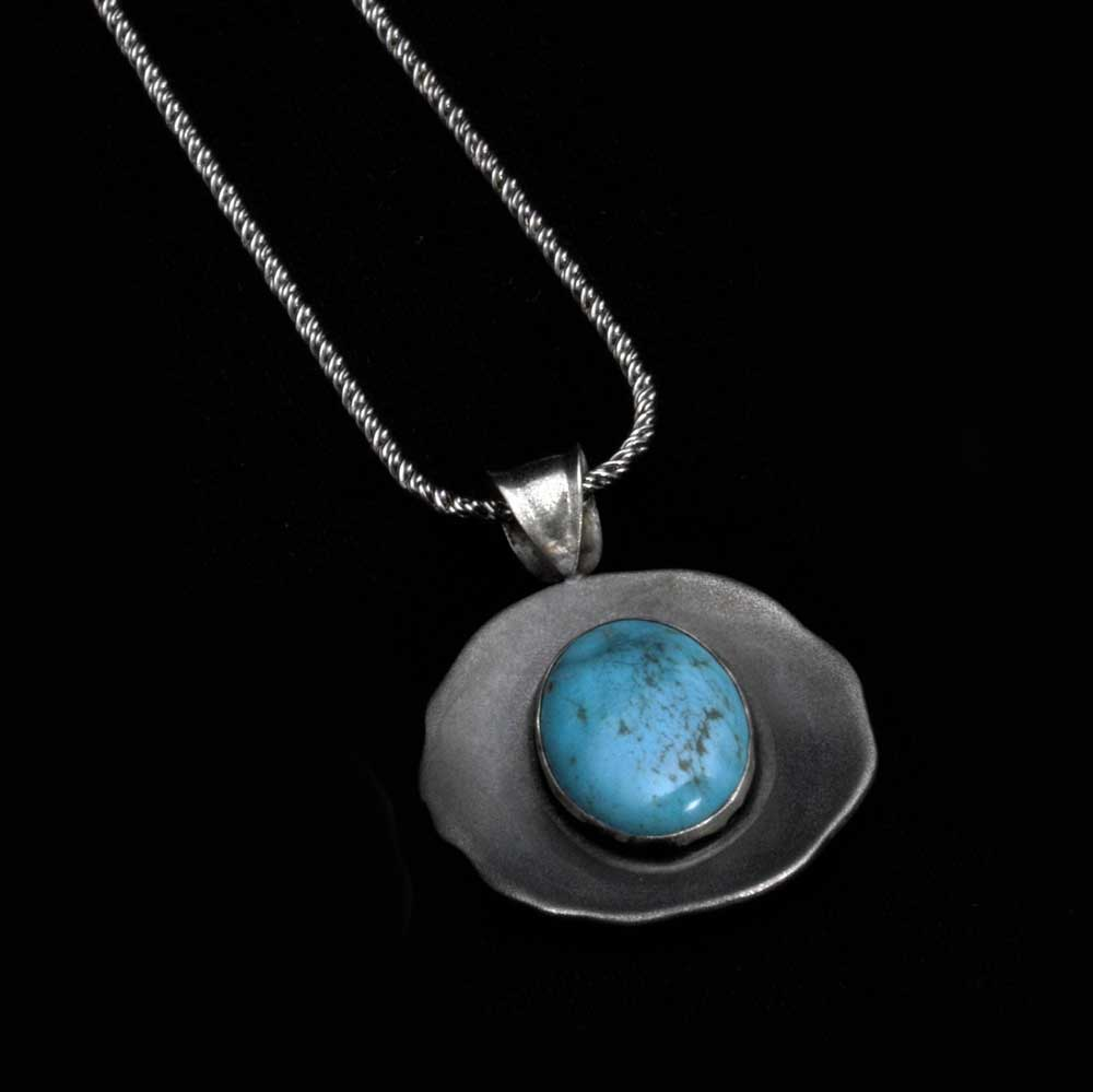 Comstock Heritage Blue Cerrolite Circle Pendant Necklace WOMEN - Accessories - Jewelry - Necklaces COMSTOCK HERITAGE Teskeys