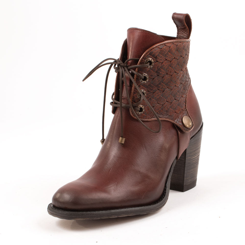 Round Toe Lace Up Cognac Bootie WOMEN - Footwear - Boots - Booties CORRAL BOOTS Teskeys