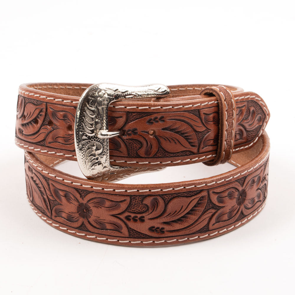 Livingston Leather Floral Hand-Tooled Belt MEN - Accessories - Belts & Suspenders Beddo Mountain Leather Goods Teskeys