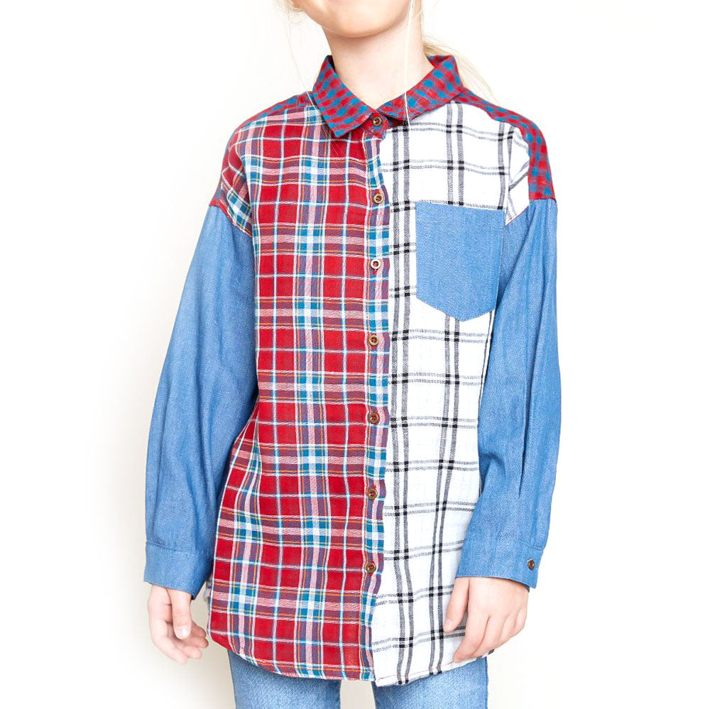 Girls Mixed Plaid Shirt KIDS - Girls - Clothing - Tops - Long Sleeve Tops HAYDEN LOS ANGELES Teskeys