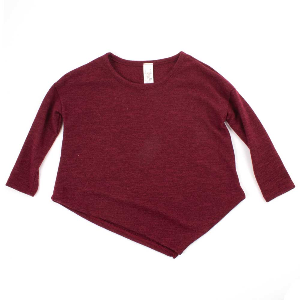 Girl's Burgundy Asymmetrical Sweater KIDS - Girls - Clothing - Sweaters & Cardigans GTOG Teskeys