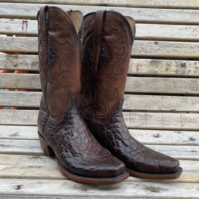 Lucchese Chocolate Giant Gator Size  9.5D MEN - Footwear - Exotic Western Boots LUCCHESE BOOT CO. Teskeys