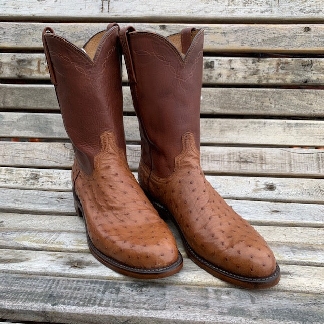 Lucchese Full Quill Ostrich Roper Size 10D MEN - Footwear - Exotic Western Boots LUCCHESE BOOT CO. Teskeys